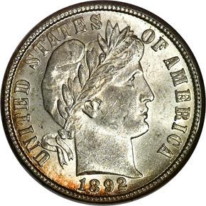 1892 O 10C MS obverse