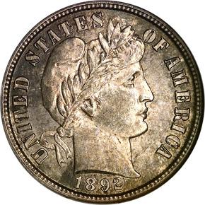 1892 S 10C MS obverse