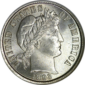 1893/2 10C MS obverse