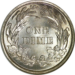 1893/2 10C MS reverse