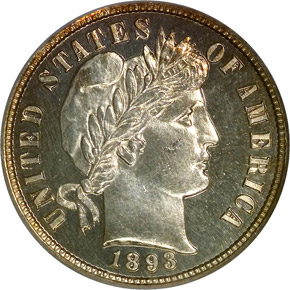 1893/2 10C PF obverse