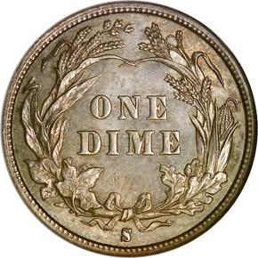 1893 S 10C MS reverse