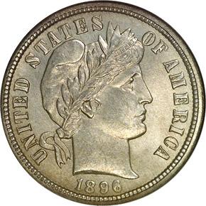 1896 O 10C MS obverse