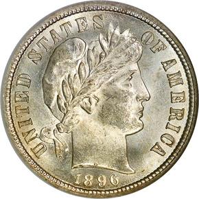 1896 S 10C MS obverse