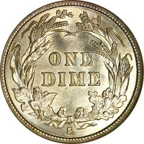 1896 S 10C MS reverse