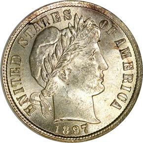 1897 10C MS obverse