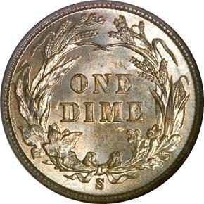 1899 S 10C MS reverse