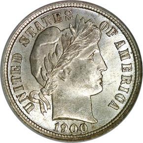 1900 S 10C MS obverse