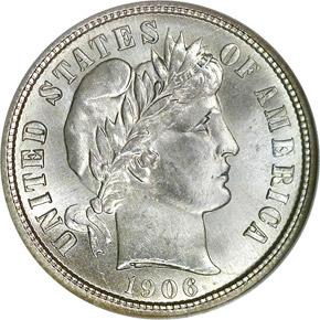 1906 S 10C MS obverse