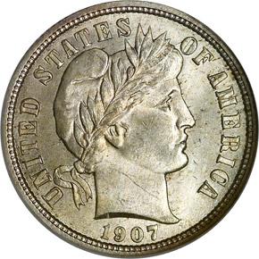1907 10C MS obverse
