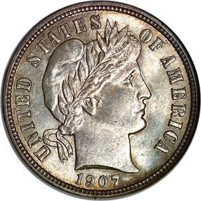 1907 D 10C MS obverse