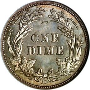1907 D 10C MS reverse