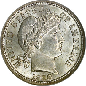 1908 D 10C MS obverse