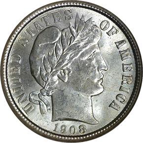 1908 O 10C MS obverse