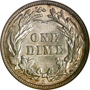 1909 S 10C MS reverse