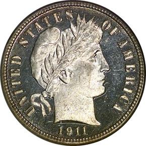 1911 10C PF obverse