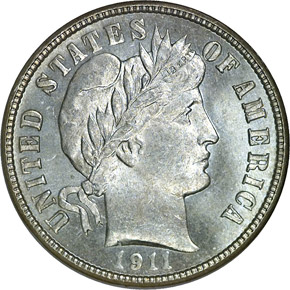 1911 D 10C MS obverse