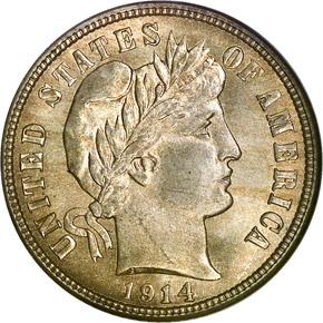 1914 10C MS obverse