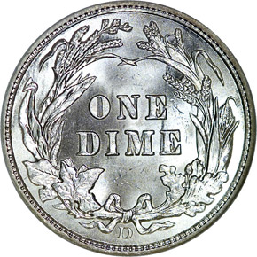 1914 D 10C MS reverse