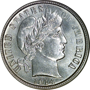 1914 S 10C MS obverse