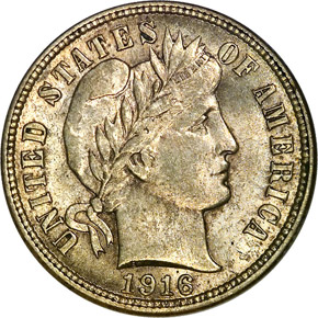 1916 BARBER 10C MS obverse