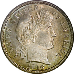 1916 S BARBER 10C MS obverse