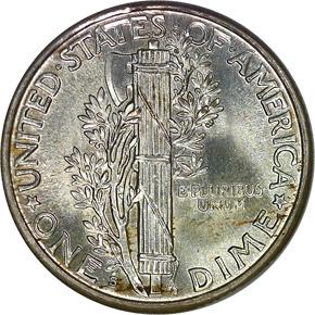 1927 S 10C MS reverse