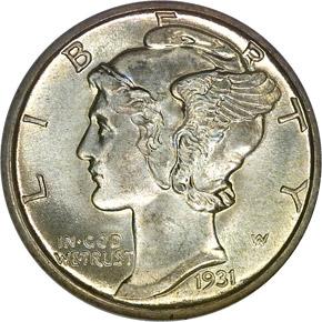 1931 D 10C MS obverse