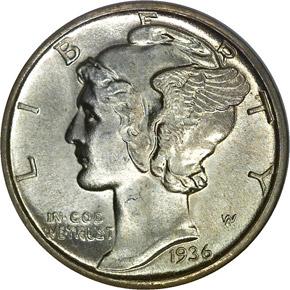 1936 D 10C MS obverse