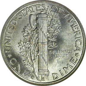 1936 S 10C MS reverse