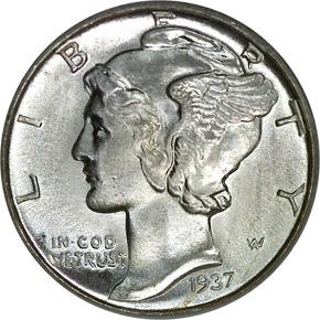 1937 D 10C MS obverse