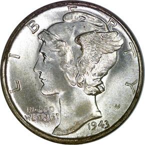 1943 S 10C MS obverse