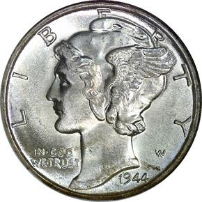 1944 D 10C MS obverse