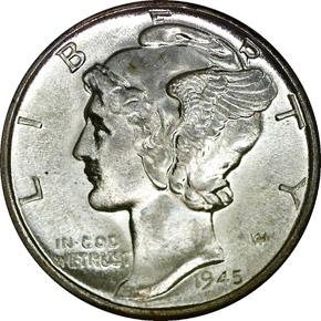 1945 D 10C MS obverse