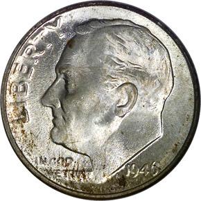 1946 D 10C MS obverse