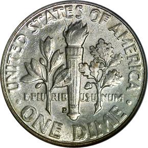 1947 D 10C MS reverse