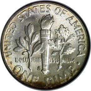 1950 S 10C MS reverse