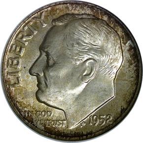1952 D 10C MS obverse