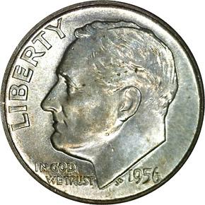 1956 D 10C MS obverse