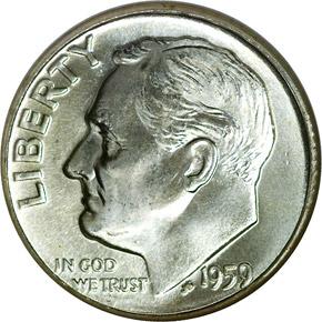 1959 D 10C MS obverse