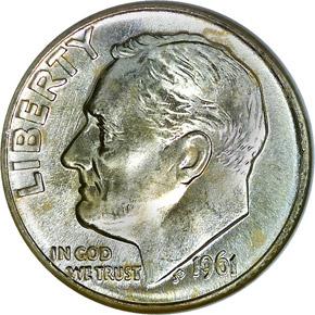 1961 D 10C MS obverse