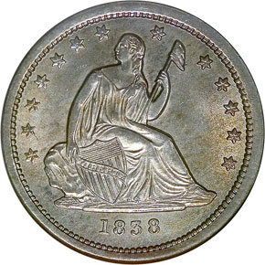 1838 SEATED 25C MS obverse