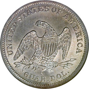 1838 SEATED 25C MS reverse