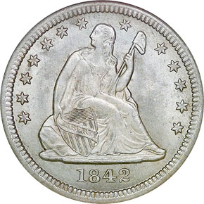 1842 O LARGE DATE 25C MS obverse
