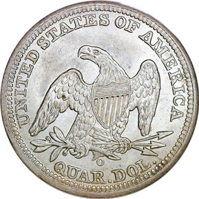 1842 O LARGE DATE 25C MS reverse