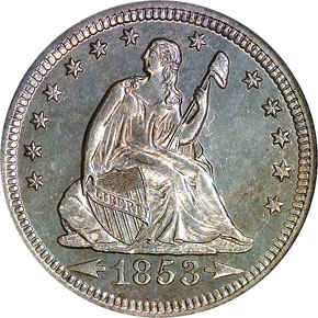 1853 O ARR & RAYS 25C MS obverse