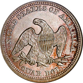 1854 O ARROWS 25C MS reverse