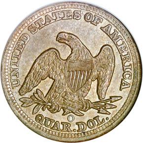 1858 O 25C MS reverse