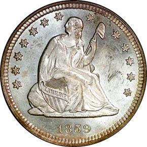 1859 O 25C MS obverse