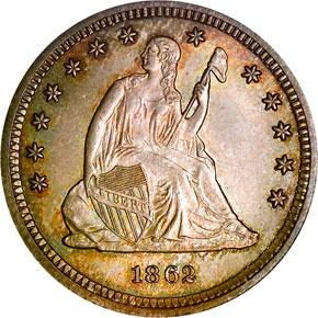 1862 25C MS obverse